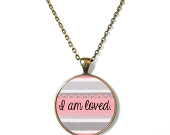 Pastel Pink Striped i am loved Necklace - Mother's Day Jewelry - Greatest Mom Ever Conversation Heart - Mother's Day Necklace Gift
