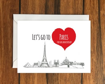 Let's Go To Paris For Our Anniversary Blank greeting card, Holiday Card, Gift Idea A6