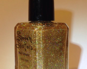 Sundust - Seven Sisters Nail Lacquer - 15 mL 0.5 Fl Oz. - Gold Holographic Nail Polish/Top Coat Overlay