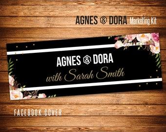 Black Stripes Facebook Cover, Agnes and Dora Facebook Cover Photo, Fast Free Personalization, Cover Banner, Agnes & Dora FB V25302