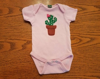 Green Cactus With Little Pink Flower Onesie