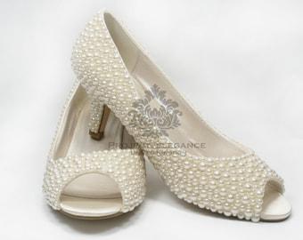 """Bella - Ivory Pearl Peep Toe 2.2"""" Inch (6cm) Mid Low Kitten Heel Shoes US Size 5 6 7 8 9 10"""