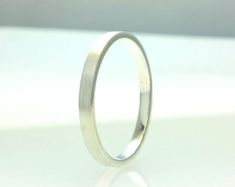 Sterling Silver Flat Wedding Band Brushed Finish 2mm Ring  All Us Sizes