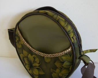 Round purse, bag original faux leather fabric and khaki green and khaki floral print