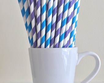Blue and Purple Striped Paper Straws Party Supplies Party Decor Bar Cart Cake Pop Sticks Mason Jar Straws Graduation
