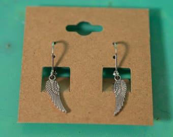 Silver Metal Small Angel Wing Earrings