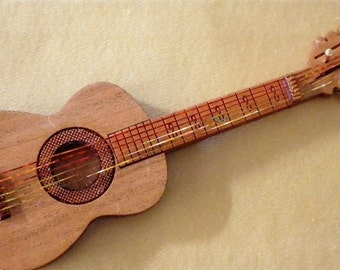 "Acoustic Guitar Kit - 1"" scale - Laser Cut from Cherrywood - Lovely Musical Instrument"