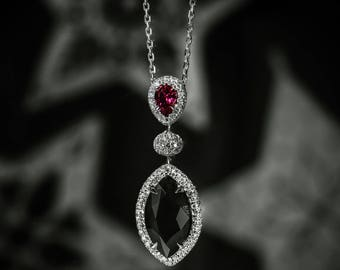 A 3.97Ct TW Fancy Black Diamond and Ruby drop pendant,18K white gold,certified by GIA,diamond pendant,elegant pendant,necklace,sku: 220982