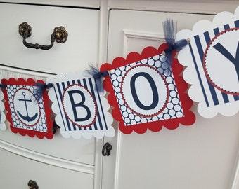 Ahoy its a boy banner, baby shower banner, ahoy banner, ahoy baby banner, nautical baby shower, navy, sailboat, little sailor