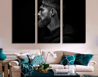Bearded Man Wall Art Black and White Photo Man with Beard