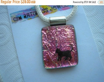 SPRING SALE Kitty Pendant, Metallic Pink Gold Shimmer, Dichroic Fused Glass Jewelry, Cat Necklace, Pink Pendant, Color Changing Glass Jewelr