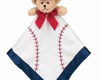 Personalized Baby Security Blanket Lil' Slugger Baseball Bear Snuggler Lovie Baby Boy Gift Baby Plush Stuffed Animal with Blanket