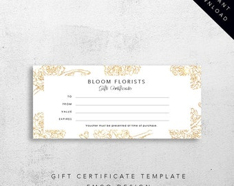Bloom Gift Certificate Template | Florist Gift Voucher Template | Printable Download