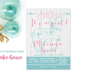 Nautical baby girl shower invitations, Ahoy its a girl baby shower, aqua pink anchor invitation, pink teal anchor invitation, DIY printable
