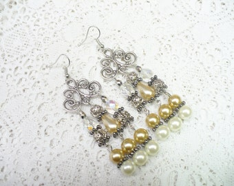 OOAK Vintage Champagne Ivory White PEARL Crystal Chandelier Earrings - silver tone metal - Bridal  - Pierced - Bridesmaid gift - ab Crystals