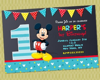 Mickey mouse invitations mickey mouse birthday invitation mickey mouse 1st birthday invitations mickey invitations mickey mouse first birthday invitations baby filmwisefo Images