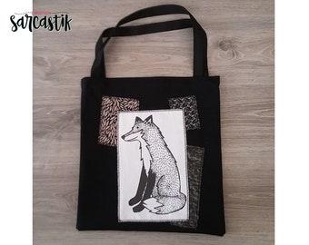 Fox black and white tote bag