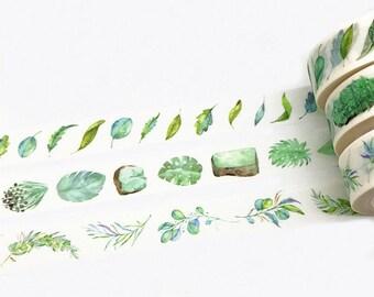 3 Rolls Washi Tape, Leaves Washi Tape, Leaf Washi Tape, Leaves Washi Tape, Green Paper Tape, Plants Washi Tape