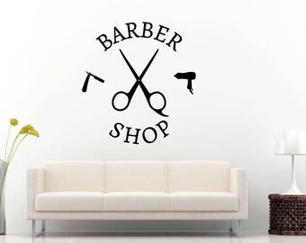 Barber Shop Hair Salon Beauty Shop Haircut Style Fashion Razor Scissors Blow Dryer Wall Sticker Decal Vinyl Mural Decor Art L2271