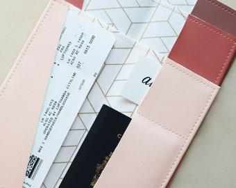 Long gold tile passport holder, passport case, vinyl passport holder with cotton liner, faux leather passport holder