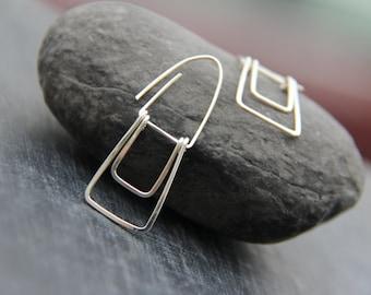 """Sterling silver or copper geometric rectangle dangle earrings """"Trapeze"""", swing earrings, minimalist dangle earrings, modern, simple"""
