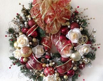 Large Winter Rose Christmas Wreath