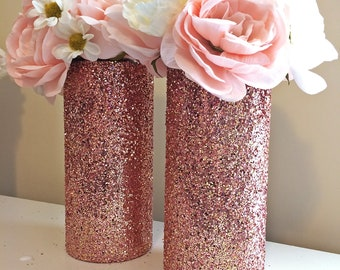 2 Rose Gold Vases, rose gold decor, rose gold wedding, wedding centerpiece, wedding decorations, baby shower, bridal shower, party decor