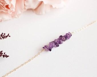 Amethyst Gemstones Bracelet - Bridesmaid Chips Gemstones Bracelet -  Minimalist Jewelry - Boho Chic Gold-Filled Bracelet