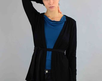 Jersey Cardigan, black jacket, black Bolero, Cardigan, jacket, Longsleeve, black Cardigan Alessa oekotex viscose with belt