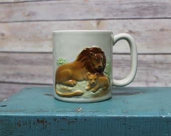 1981 Vintage Otagiri Coffee Mug Lion and Cub, 3D Coffee Cup