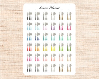 Cutlery Regular size (matte planner stickers, perfect for planners)