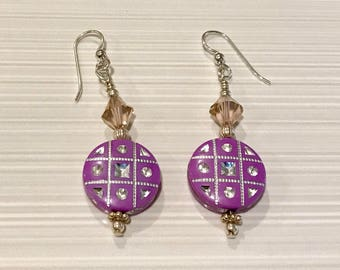 Sterling Silver, Swarovski Crystal and Polymer Earrings - FREE SHIPPING