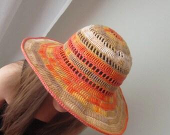 Summer Floppy Hat Wide Brimmed Cloche Crochet Cotton Women Accessory Beach Wear Cloche Sun Protection Beige Orange Ecru Vanilla Multicolor