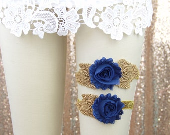 Wedding Garter Set, Dark Blue Shabby Chic Flower with Gold Leaves Garter Set, Blue Wedding Garter, Something Blue / GT-25