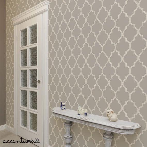 Moroccan Warm Grey Peel Stick Fabric Wallpaper