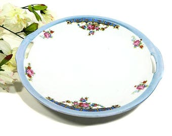 Antique Bavarian Cake Cookie Plate Floral Lusterware