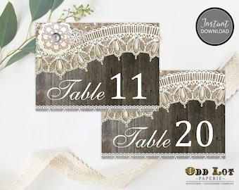 Printable Table Numbers, Rustic Wedding, Wedding Reception Table Numbers, 11-20, Digital Printable, Instant Download, DIY  ~Wood Lace