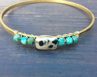 Amazonite and jasper Bangle bracelet