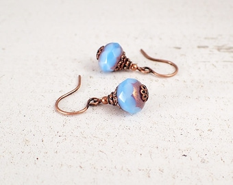 Bright Blue and Copper Earrings with Lavender Luster - Handmade Vintage Style Antiqued Copper Bridesmaids Jewelry