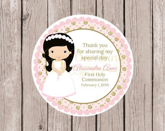 PRINTABLE Girls First Holy Communion Favor Tags in Pink and Gold / Communion Stickers / Choose Hair & Skin Color / You Print - HC12