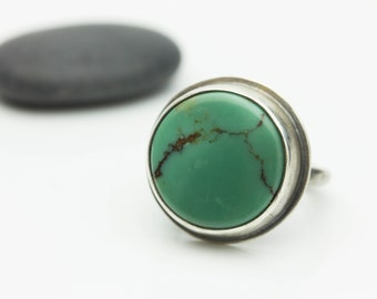 Turquoise & Sterling Ring, Treasure Mountain Turquoise, Unisex Artisan Ring, Le Chien Noir, Size 7