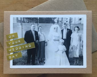 Wedding Card with Vintage Photograph Bridal Party On Your Wedding Day