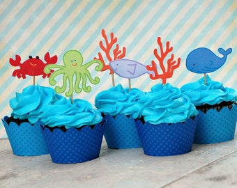 Under the Sea Collection - Custom Cupcake Toppers and Their Wraps from Mary Had a Little Party