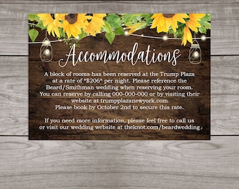 Rustic Sunflower Wedding Accommodation Insert Cards Printed and Shipped to You - Country Rustic Wedding - Affordable Inserts - Wedding-101