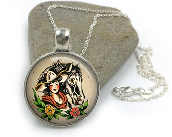 Sailor Jerry Necklace, Nautical Pendant,Rockabilly Necklace, Sailor Jerry,Retro Pendant,Pinup Necklace, tattoo,gift for wife,gift for her 22