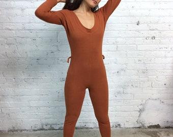 vintage 90s copper body suit  / stretchy scoop neck jumpsuit / rust color one piece romper