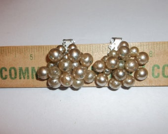 CLUSTER Bead Earrings Clip On Marked JAPAN Silvertone 1 pair + 1