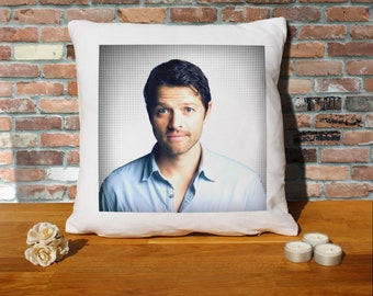 Misha Collins Pillow Cushion - 16x16in - White