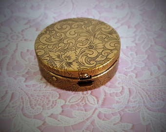"Ready to Fill (Empty) Solid Perfume Compact, Antique Brass Finish,  38mm Round,  Flat-Top, w/ Refillable Pan, ""Verity""  #1346"
