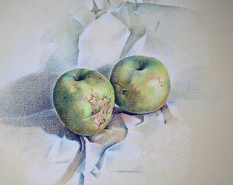 Two apples (an original drawing)